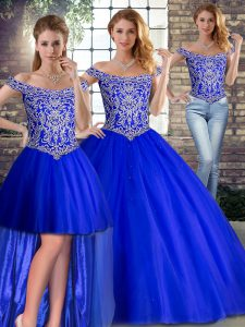 Romantic Royal Blue Tulle Lace Up Off The Shoulder Sleeveless Sweet 16 Dress Brush Train Beading