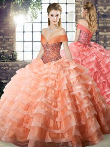 High Quality Off The Shoulder Sleeveless Sweet 16 Quinceanera Dress Brush Train Beading and Ruffled Layers Peach Organza