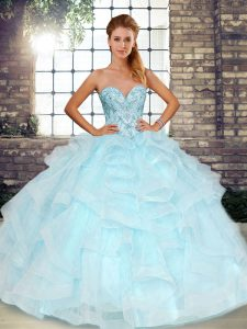 Beading and Ruffles Ball Gown Prom Dress Light Blue Lace Up Sleeveless Floor Length