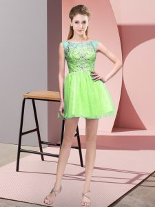 Yellow Green A-line Beading Dress Like A Star Zipper Tulle Sleeveless Mini Length