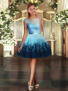 Cute Mini Length Ball Gowns Sleeveless Multi-color Dress for Prom Backless