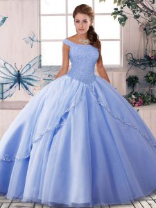 Lavender Lace Up Quince Ball Gowns Beading Sleeveless Brush Train