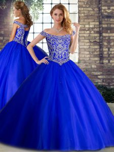 Pretty Royal Blue Quinceanera Gowns Tulle Brush Train Sleeveless Beading