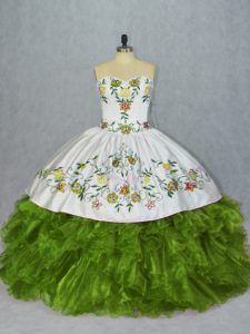Sumptuous Sweetheart Sleeveless Lace Up Vestidos de Quinceanera Olive Green Organza
