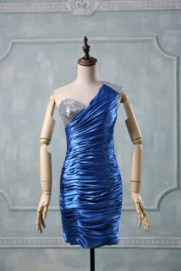 Blue Zipper Homecoming Dress Beading Sleeveless Mini Length