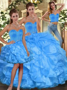 Dynamic Sweetheart Sleeveless 15 Quinceanera Dress Floor Length Ruffles Baby Blue Organza