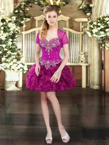 Sleeveless Organza Mini Length Lace Up in Fuchsia with Beading and Ruffles