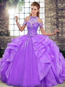 Affordable Organza Halter Top Sleeveless Lace Up Beading and Ruffles 15 Quinceanera Dress in Lavender