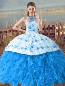 Superior Baby Blue Halter Top Neckline Embroidery and Ruffles Sweet 16 Dresses Sleeveless Lace Up