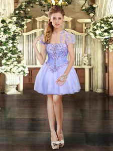 Lavender Strapless Lace Up Beading and Lace Prom Dresses Sleeveless