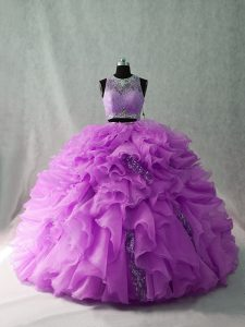 Zipper Sweet 16 Dresses Lilac for Sweet 16 and Quinceanera with Beading and Ruffles Brush Train