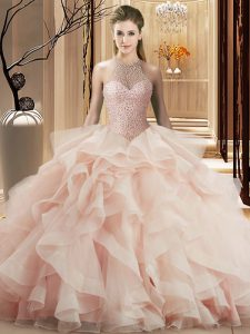 Chic Sleeveless Organza Brush Train Lace Up Sweet 16 Dress in Pink with Beading and Ruffles