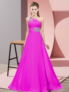 Comfortable Fuchsia Lace Up Prom Dresses Beading and Ruching Sleeveless Floor Length