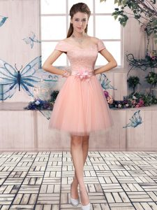 Off The Shoulder Short Sleeves Lace Up Prom Evening Gown Pink Tulle