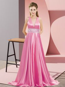 Most Popular Elastic Woven Satin V-neck Sleeveless Brush Train Backless Beading Evening Dress in Rose Pink