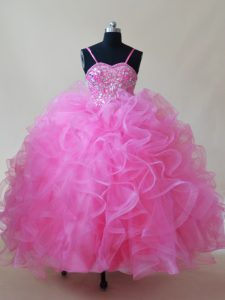 Trendy Rose Pink Ball Gowns Tulle Spaghetti Straps Sleeveless Beading and Ruffles Floor Length Lace Up High School Pageant Dress