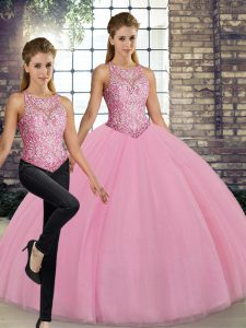 Excellent Floor Length Pink Quinceanera Dresses Tulle Sleeveless Embroidery