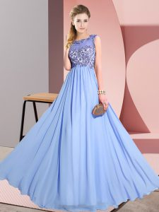 Free and Easy Lavender Sleeveless Chiffon Backless Dama Dress for Wedding Party