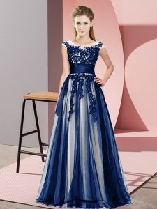 Sleeveless Floor Length Beading and Lace Zipper Damas Dress with Navy Blue