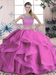 Lilac Lace Up Scoop Beading and Lace and Ruffles Quinceanera Dress Tulle Sleeveless