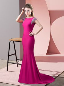 Hot Pink Prom Homecoming Dress High-neck Short Sleeves Brush Train Backless