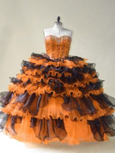 Floor Length Orange Quinceanera Gown Organza Sleeveless Beading
