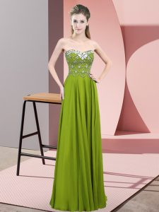 Olive Green Empire Chiffon Sweetheart Sleeveless Beading Floor Length Zipper Prom Dress