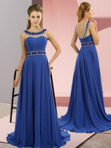 Royal Blue Zipper Scoop Beading Pageant Gowns Chiffon Sleeveless Brush Train