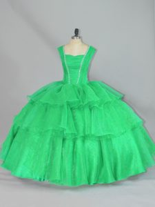 Turquoise Organza Lace Up Straps Sleeveless Floor Length 15th Birthday Dress Beading and Ruffled Layers and Ruching