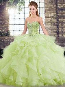 Custom Made Yellow Green Lace Up Sweetheart Beading and Ruffles Quinceanera Gown Tulle Sleeveless Brush Train