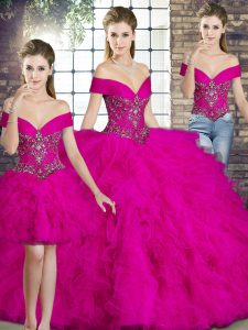 Fuchsia Three Pieces Beading and Ruffles Sweet 16 Quinceanera Dress Lace Up Tulle Sleeveless Floor Length