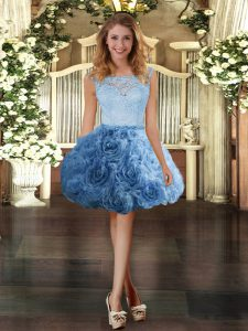 Glittering Scoop Sleeveless Zipper Cocktail Dresses Blue Fabric With Rolling Flowers