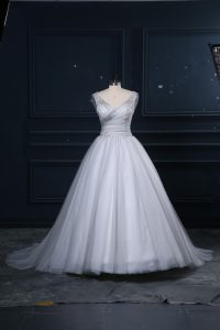 Tulle Sleeveless Bridal Gown Brush Train and Appliques