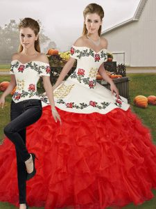 Two Pieces Quinceanera Dress White And Red Off The Shoulder Organza Sleeveless Floor Length Lace Up