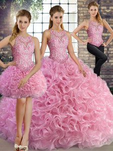 Rose Pink Lace Up 15th Birthday Dress Beading Sleeveless Floor Length