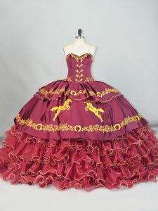 Hot Selling Burgundy Sweetheart Neckline Embroidery and Ruffled Layers Quince Ball Gowns Sleeveless Lace Up