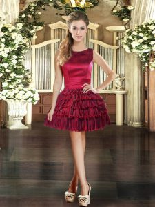 Chic Wine Red Prom and Party with Ruffled Layers Scoop Sleeveless Lace Up