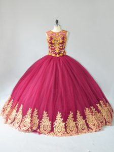 New Style Floor Length Lace Up Ball Gown Prom Dress Burgundy for Sweet 16 and Quinceanera with Appliques