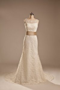 Amazing White Wedding Dress Wedding Party with Lace and Belt Scoop Sleeveless Brush Train Backless