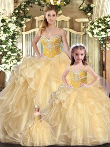 Graceful Champagne Sleeveless Beading and Ruffles Floor Length Sweet 16 Dresses