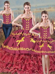 Cute Embroidery and Ruffles Quinceanera Gown Burgundy Lace Up Sleeveless Floor Length Brush Train