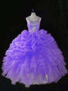 Sleeveless Floor Length Beading and Ruffles and Pick Ups Zipper 15 Quinceanera Dress with Lavender