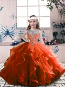 Sleeveless Floor Length Beading Lace Up High School Pageant Dress with Rust Red