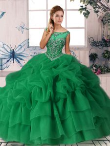 Excellent Green Zipper Quinceanera Gown Beading and Pick Ups Sleeveless Brush Train