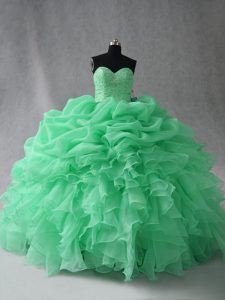Ball Gowns Quinceanera Gown Apple Green Scoop Organza Sleeveless Floor Length Lace Up