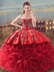 Luxury Fabric With Rolling Flowers Sweetheart Sleeveless Brush Train Lace Up Embroidery and Ruffles Quince Ball Gowns in Coral Red