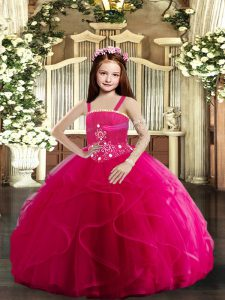 Hot Pink Straps Lace Up Beading and Ruffles Little Girls Pageant Dress Sleeveless
