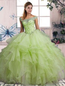 Organza Off The Shoulder Sleeveless Lace Up Beading and Ruffles Quince Ball Gowns in Yellow Green