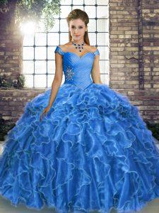 Eye-catching Ball Gowns Sleeveless Blue Sweet 16 Dresses Brush Train Lace Up
