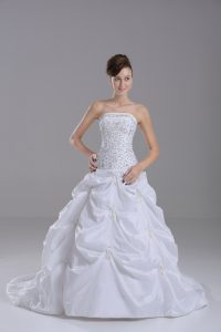 Hot Sale Strapless Sleeveless Bridal Gown Brush Train Beading and Pick Ups White Taffeta